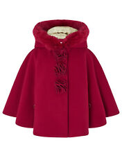 Monsoon NEW Baby Girls Red Fur Winter Jacket Cape Coat Age 3 Months to 4 Years
