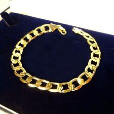 "Real Yellow Gold Filled, Curb Link Chain 8"" Bracelet, Quality Xmas Gift,  UK"