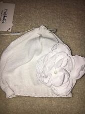 Italian Designer White Baby Girl Hat with Flower; Size 3-6 M; 100% Cotton NWT