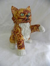 Vintage Orange and White Ceramic Pottery Persian Cat or Kitten Figure