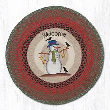 BRAIDED ROUND HAND STENCILED AREA RUG By EARTH RUGS--SNOWMAN CROW AND STARS