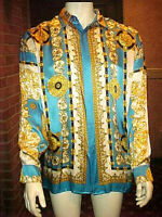 RARE VINTAGE MENS SILK SHIRT MULTICOLOR BAROQUE OUTSTANDING SIZE LARGE/XLARGE