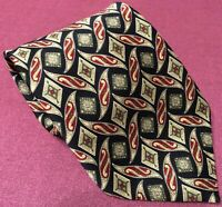 St Michael Mens Tie 100% Polyester Marks And Spencer Navy/Gold/Red