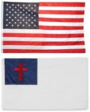 3x5 USA American Flag and Christian Flag EMBROIDERED 210D Premium Flag Set