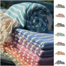 Peshtemal Beach Sheet Towel Wrap Sarong Stripe Bath Fringe Tassel Throw Cotton