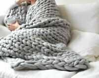 Chunky Knitted Warm Soft Thick Blankets Yarn Wool Bulky ...