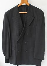 Mens Vintage Suit Jacket + 2 Trousers WW2 Style Double Breasted Grey Pin Stripe