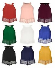 GLAMOROUS Womens Crochet Halterneck Vest Top Keyhole Sleeveless Cami Crop Party