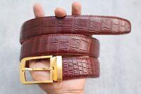 Red Brown Genuine Alligator, CROCODILE Leather Skin Men's Belt # TL01419
