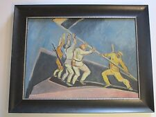 ANTIQUE VNTG PAINTING EXPRESSIONIST WAR SOLDIERS WPA STYLE MODERNISM POLITICAL