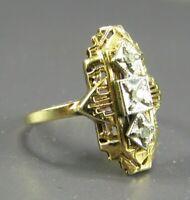 14K YELLOW GOLD Vtg Art Deco ELONGATED DIAMOND ILLUSION COCKTAIL RING Filigree 6