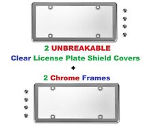 2 UNBREAKABLE Clear License Plate Shield + 2 Chrome Frames for Cars & Trucks
