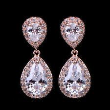 Women 14K Rose Gold Filled Hoop Drop Dangle White Gems Earrings Wedding Jewelry