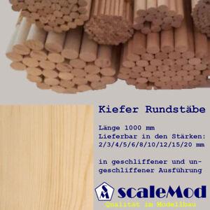 Scale Rundstäbe Kiefer 5,0 mm Länge 1000 mm VE 3 Stk (0,67 EUR/m)