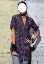 Damen Bluse Hemd Gr. 42 Longbluse schwarz lila