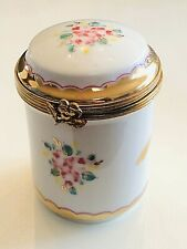 Limoges France Signed Fim Main Round Tower Trinket Box Porcelain Collectible