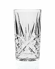 Vintage Clear Crystal Highball Glasses Drink Set 4 Glassware Kitchen Dining Bar