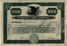 Hygrade Lamp Company Stock Certificate Massachusetts Automobile Green