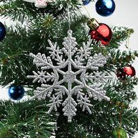 12X Glitter Snowflake Christmas Ornaments Xmas Tree Hanging Decoration Gifts.