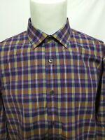 Bugatchi Multicolor Plaid Shaped Fit Long Sleeve Shirt Mens Size Large