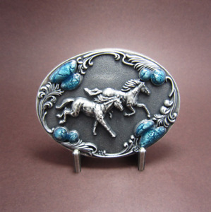 Silver-Plated Western Running Horses Cowboy Metal Belt Buckle