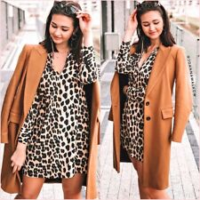 SALE  Zara Leopard Shirt Long Sleeves Mini Flowy Dress XS S UK 6 8 US 2 4 ❤