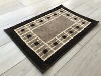 Machine Washable Non Slip Border Design Doormat Mat Biscuit Dark Beige Brown Rug