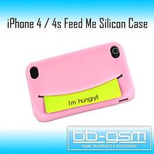 FEED ME Case für iPhone 4 und 4s Silicon Hülle Tasche Cover in Pink