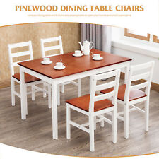 Dakavia Pine Wood Dining Table and 4 Chairs Room Set Breakfast Kitchen Furniture