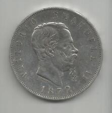 D76) 1872 ITALIA REGNO 5 LIRE - SILVER 0,900 (37,0 mm) - XF/EBC