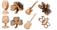 Wooden MDF Shapes Wine Glass, Shamrock, Guitar, Bumblebee Craft Embellishments
