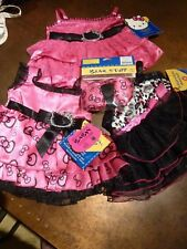 BNWTs Build a Bear HELLO KITTY - 3 party dresses & ear bow - HOLIDAY BOW LEOPARD
