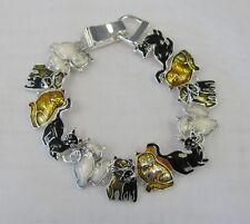 Feline Kitty Cat Kitten Charm Bracelet Magnetic Clasp # 3438 Black Brown White