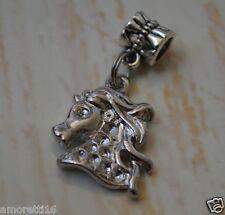 Silver HORSE Flowing Mane Head Arabian Dangle Bead European Charm Pendant