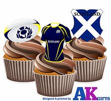 Scotland Rugby Shirt Ball Flag Mix 12 Edible Cup Cake Wafer Toppers Decorations