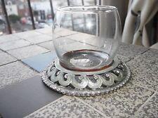 UNUSUAL SMALL GLASS POT ON WHITE METAL BASE SPARKLE PASTE STONES GREY ENAMEL