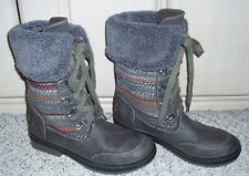 ROCKETDOG Rocket Dog Lace Up Fold Over Fur Trim Boots~Gray w/Print~Size 6.5 M