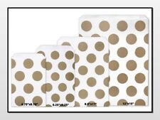 Gold Polka Dots Flat Paper Merchandise Bags Choose Size & Package Amount