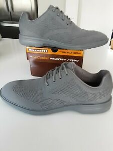 SKECHERS Relaxed Fit Grey Knitted Upper Lace Up Comfort Dress Shoes size 10 uk