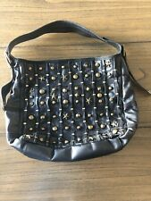 BETSY JOHNSON Black Leather Handbag With Brass Studs Dart Stars Leopard Print
