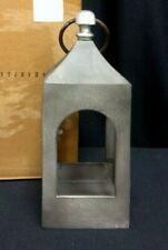 "Pottery Barn Caleb White Weathered Lantern Candle Mini distressed Light Lamp 15"""