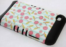 iPod Touch 4th Gen - HARD&SOFT RUBBER HYBRID ARMOR CASE BLACK BLUE CHERRY FLOWER