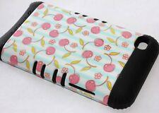 iPod Touch 4th Gen - HARD&SOFT RUBBER HYBRID ARMOR CASE BLACK BLUE CHERRY FLOWER