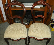Pair Walnut Carved Parlor Chairs Sidechairs off white print chenille  (SC199)