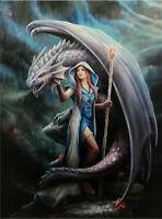 Large Fantasy Canvas Print (40x30cms)-Dragon Maid by Anne Stokes-Dragon-AU Shop