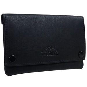 Oakridge Leather Black Lined Tobacco Pouch Stud Fastener