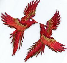 Crimson red gold phoenix phenix birds embr. appliques iron-on patches S-1329
