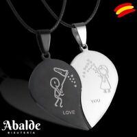 Collar Colgante Doble Corazón Pareja Love you Amigas Regalo Para Hombre Mujer