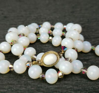 VTG Japan White Opal Hand Made Glass Bead Vitrail Crystal Necklace Nice clasp