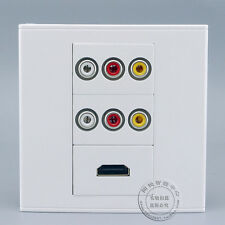 Wall Socket Plate HDMI & Double 3RCA AV Port Panel Faceplate Outlet Connector